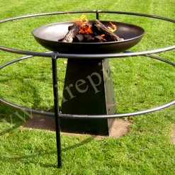 Safety Rail and Tower 80 fire pit lit in garden