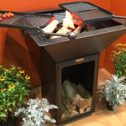 Box Tower fire pit with log store below