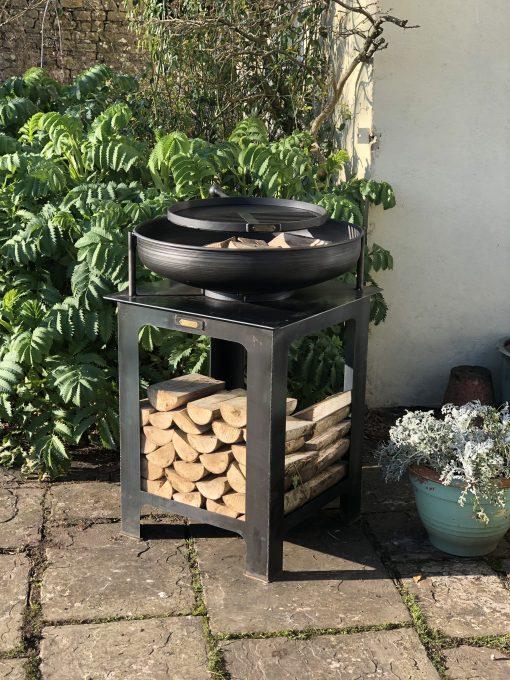 Modular Kitchen Fire Bowl with Log Store in garden