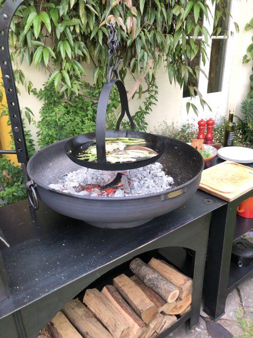 Flat Bottomed Hanging Skillet Pan over fire pit
