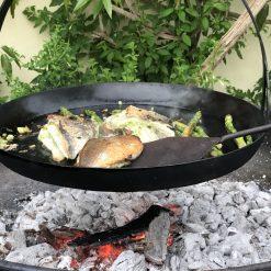 Cooking on Flat Bottomed Hanging Skillet Pan
