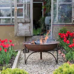 Plain Jane Fire Pit Lifestyle Rusted at Greenhouse - Firepits UK - WEB - Lo Res
