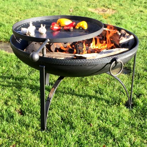 Plain Jane Fire Pit Lifestyle with Feather Band - FirepitsUK - WEB - High Res