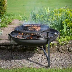 Plain Jane Fire Pit with Swing Arm BBQ Rack Lifestyle - Firepits UK - WEB - Lo Res