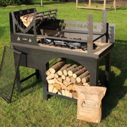 Asado BBQ with Log Store Lifestyle - Firepits UK - BBQ - Lo Res