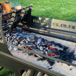 Asado BBQ with Log Store Lit Lifestyle Close Up of Fire Bricks - Firepits UK - BBQ - Lo Res