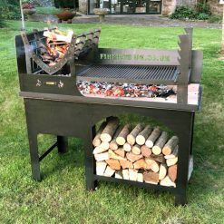 Asado BBQ with Log Store Lit Lifestyle - Firepits UK - BBQ - Lo Res