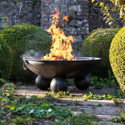 Ball Stand Fire Pit Lit Lifestyle - Firepits UK - WEB - Lo Res