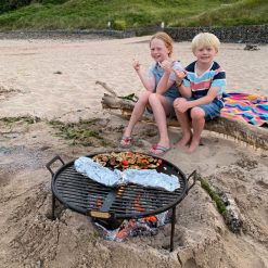 Beach BBQ Fire Pit Lit with Veg Lifestyle - Firepits UK - WEB - Lo Res