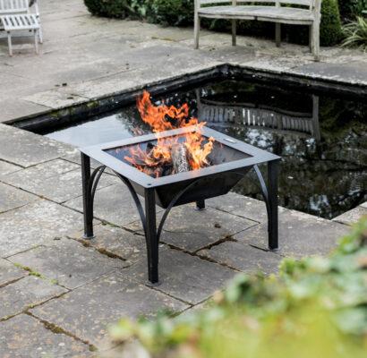 Box D Fire Pit Lit Lifestyle on Patio - Firepits UK - WEB - Lo Res