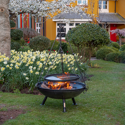 Celeste Fire Pit Lifestyle with Cooking Tripod - Firepits UK - WEB Lo Res