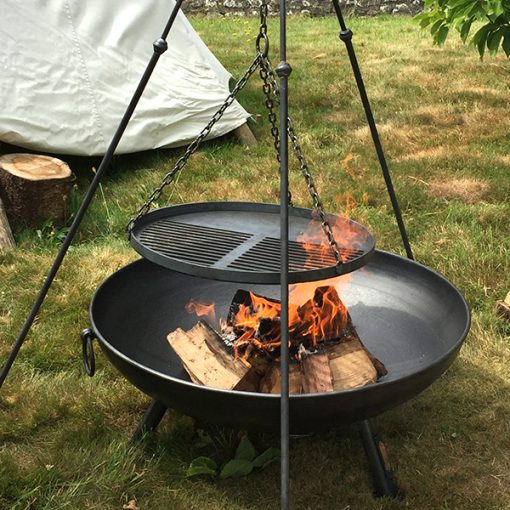Celeste Fire Pit Lifestyle with Long Leg Tripod at Bell Tents Lifestyle Close Up - Firepits UK - Lo Res