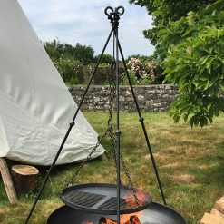 Celeste Fire Pit Lifestyle with Long Leg Tripod at Bell Tents Lifestyle- Firepits UK - Lo Res