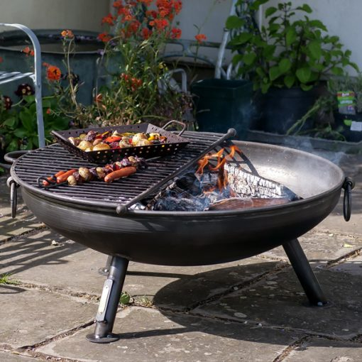 Celeste Fire Pit Lifestyle with Mesh BBQ Rack - Firepits UK - WEB - Lo Res
