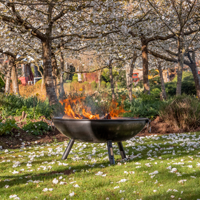 Celeste Fire Pit Lifestyle with trees - Firepits UK - WEB - Lo Res