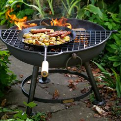 Classic Fire Pit Lit with Half Moon BBQ Rack and Long Handled Pan Lifestyle - Firepits UK - WEB - Lo Res