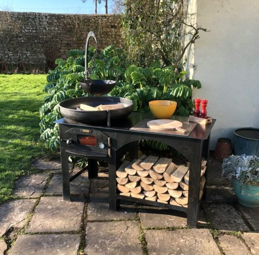 Complete Outdoor Kitchen Fire Pit with Cooking Bowl and Logs Lifestyle - Firepits UK - WEB - Lo Res