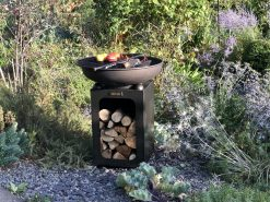 Fire Bowl with Log Store Fire Pit Lit in garden - Firepits UK - WEB - Lo Res