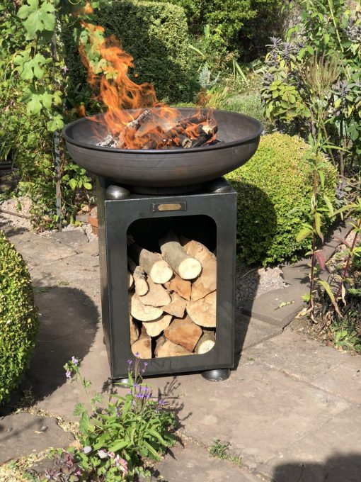 Fire Bowl with Log Store Fire Pit Lit on patio - Firepits UK - WEB - Lo Res