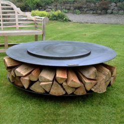 Flat Ring of Logs 120 Lit with Lid and Logs Lifestyle - FirepitsUK - WEB - Lo Res