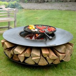 Flat Ring of Logs 120 Lit with Swing Arm BBQ Rack and Logs Lifestyle - FirepitsUK - WEB - Lo Res