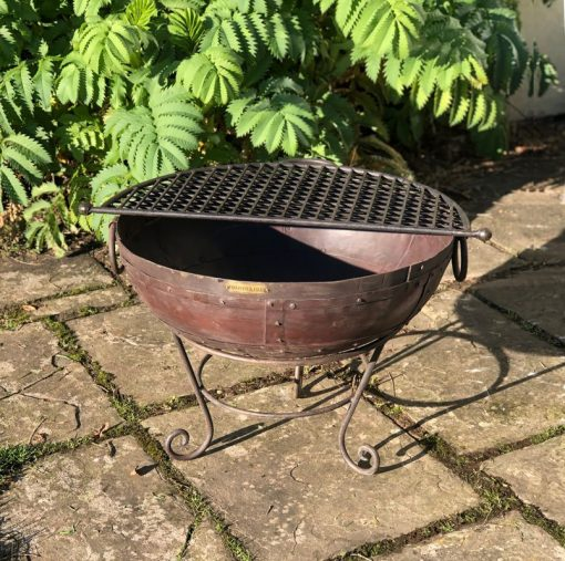 Kadai 60 Fire Pit with Half Moon Mesh BBQ Rack Lifestyle - Firepits UK - WEB - Lo Res
