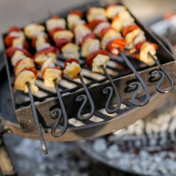 Kebab Rack for Fire Pit with Chorizo and Chicken on Swing Arm BBQ Rack Lifestyle - Firepits UK - WEb - Lo Res