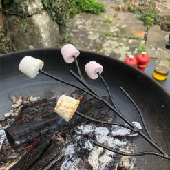 Marshmallow Fork for Fire Pit with Marshmallows over Lit Fire Pit Lifestyle - Firepits UK - WEB - Lo Res