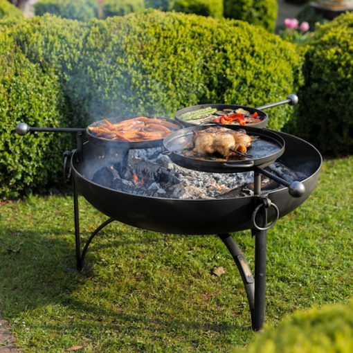 Plain Jane 90 with 3 Swing Arm BBQ Racks Fire Pit Lifestyle - Firepits UK - WEB - Lo Res