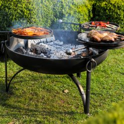 Plain Jane 90 with 3 Swing Arm BBQ Racks Fire Pit Lifestyle Swung out - Firepits UK - WEB - Lo Res