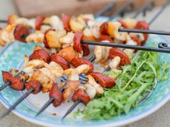 Prawn and Chorizo Kebabs Fire Pit Lifestyle - Firepits UK - WEB - Lo Res