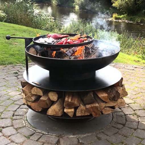 Ring of Logs 90 Fire Pit with Swing Arm BBQ Rack Lit Lifestyle - Firepits UK - WEB - Lo Res