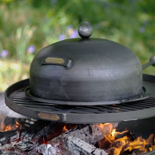 Roasting Oven - Smoker Box on Swing Arm BBQ Rack over Lit Fire Pit Lifestyle - Firepits UK - WEB - Lo Res