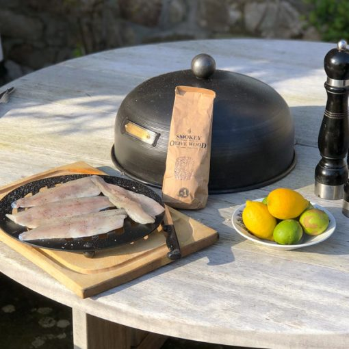 Roasting Oven - Smoker Box with Fish, Smoking Chips and Citrus Fruit Fire Pit Lifestyle - Firepits UK - WEB - Lo Res
