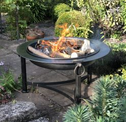 Saturn Collection Firepit Lit in garden Close Up Lifestyle - Firepits UK - WEB - Lo Res