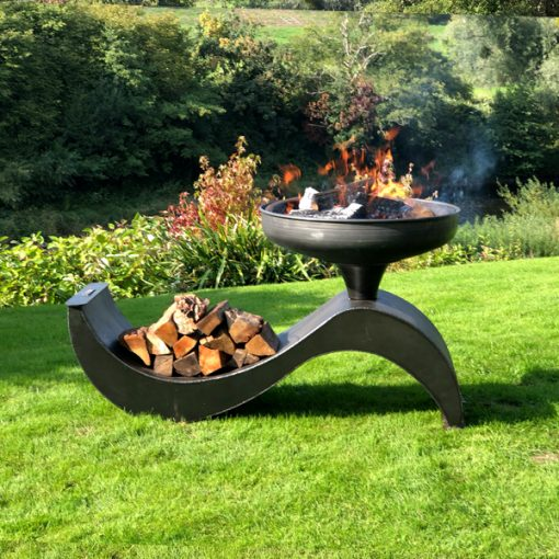 The Wave 70 Fire Pit Lit with Logs Lifestyle - FirepitsUK - WEB - Lo Res