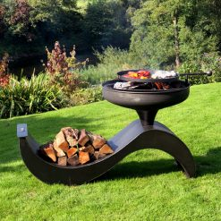 The Wave 70 Fire Pit with Swing Arm BBQ Rack Lit with Logs Lifestyle - FirepitsUK - WEB - Lo Res
