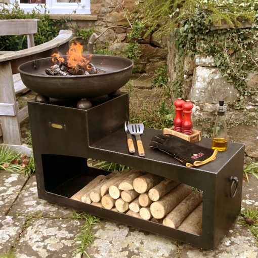 Tiered Fire Bowl 60 with Log Store Fire Pit Lifestyle - Firepits UK - WEB - Lo Res