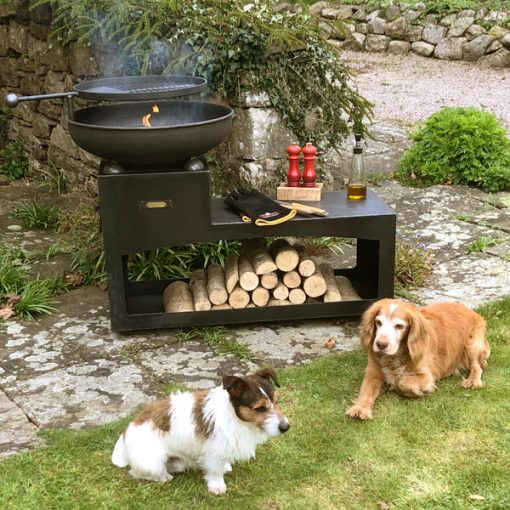 Tiered Fire Bowl 60 with Log Store Fire Pit Lit Lifestyle - Firepits UK - WEB - Lo Res