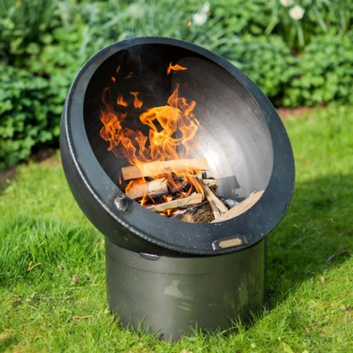 Tilted Sphere Fire Pit Lit Lifestyle - Firepits UK - WEB - Lo Res