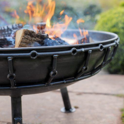 Viking Fire Pit Lit Lifestyle Close Up - Firepits UK - WEB - Lo Res