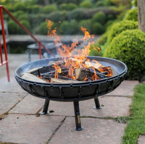 Viking Fire Pit Lit Lifestyle from Above - Firepits UK - WEB - Lo Res
