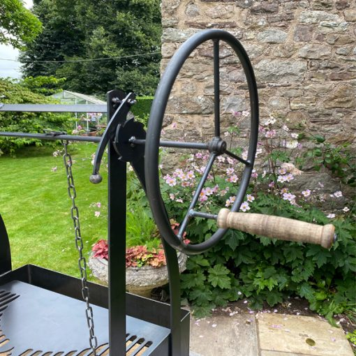 Katherine Wheel BBQ Fire Pit Handle and Wheel Lifestyle - FirepitsUK - WEB - LoRes
