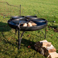 Plain Jane 120 Fire Pit with 4 Swing Arm BBQ Racks at Trostrey - Firepits UK - WEB - LoRes8