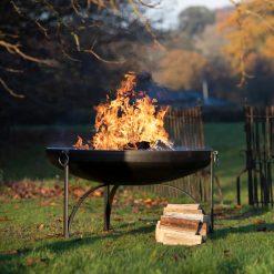 Plain Jane 120 Fire Pit with Logs at Trostrey - Firepits UK - WEB - LoRes49
